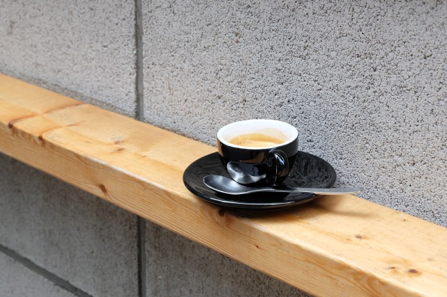 Black Espresso Cup Outside About Life Coffee Brewers Shibuya Tokyo Japan