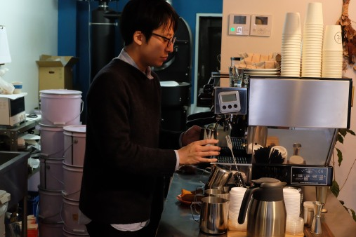 Barista on Espresso Machine at Switch Coffee Tokyo Meguro Japan