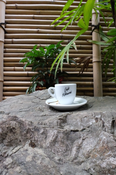 Exterior shot of espresso cup and saucer at Cafe Kitsune Aoyama Tokyo Japan