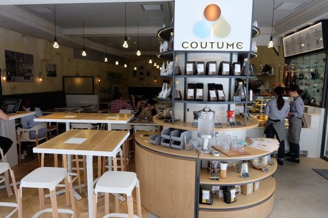 Display at Entrance of Coutume Coffee Aoyama Tokyo Japan