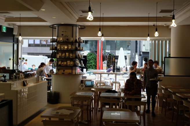 Inside looking outwards at Coutume Coffee Aoyama Tokyo Japan