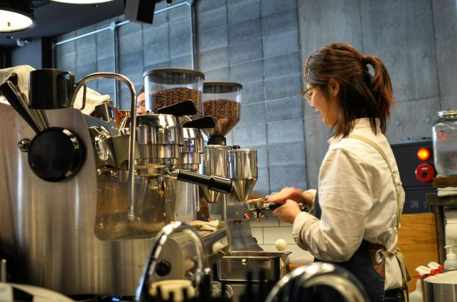 Barista Working at The Roaster by Nozy Coffee Jingumae Tokyo Japan