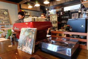 Espresso Machine at Record Player at Woodberry Coffee Roasters in Yoga Tokyo Japan