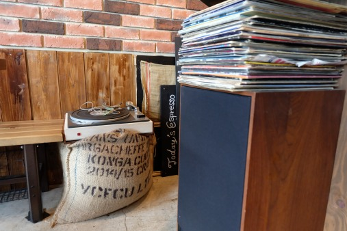 Records, Speaker, and coffee beans at Woodberry Coffee Roasters in Yoga Tokyo Japan