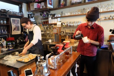 Two Baristas Making Coffee at Woodberry Coffee Roasters in Yoga Tokyo Japan