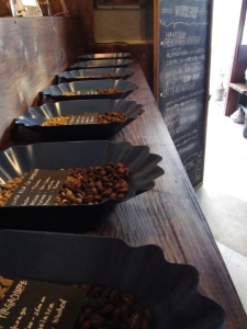 Trays of Coffee at Woodberry Coffee Roasters in Yoga Tokyo Japan