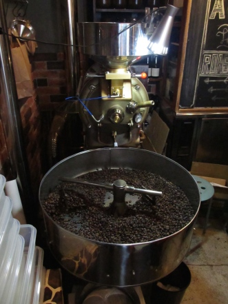 Coffee Roaster with beans at Woodberry Coffee Roasters in Yoga Tokyo Japan