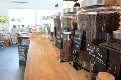 Coffee Beans in Jars at Arise Coffee Entangle Kiyosumi Shirakawa Tokyo Japan