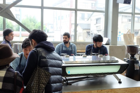 Espresso Machine and Baristas at Blue Bottle Coffee Kiyosumi-Shirakawa Tokyo Japan