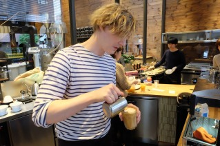 Barista at AllPress Espresso Kiyosumi-Shirakawa Tokyo Japan