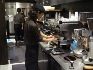 Barista at Work on Espresso Machine at Paul Bassett Shibuya Tokyo Japan