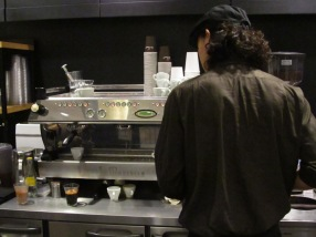 Back of Barista at Paul Bassett Coffee Shibuya Tokyo Japan