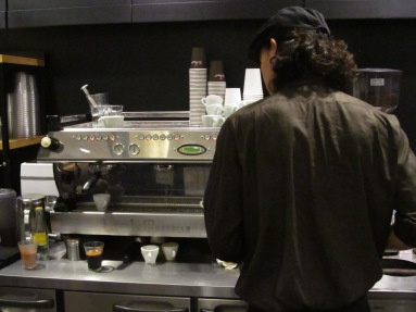 Back of Barista at Paul Bassett Coffee Shibuya Tokyo Japan