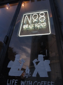 Exterior Sign reading No8 Bear Pond Espresso Shibuya Tokyo Japan