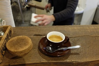 Espresso on counter at Life Size Cribe in Kokubunji