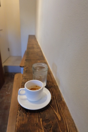 Interior Counter and Espresso Cup Talk and Come Again Cafe Coffee Tokyo Harajuku Japan