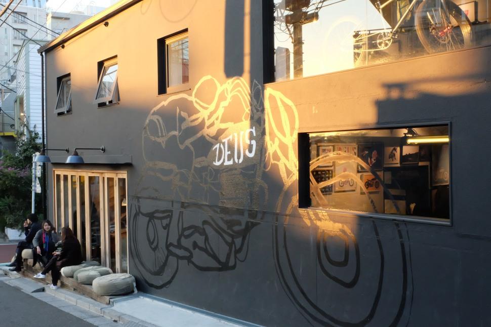 Outside Seating Deus ex Machina cafe Harajuku Tokyo Japan