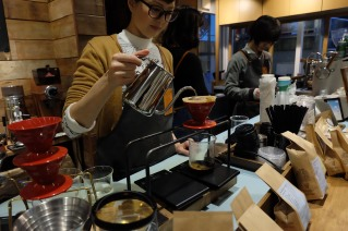 Barista Pour-over coffee at Sarutahiko Coffee Omotesando Tokyo Japan