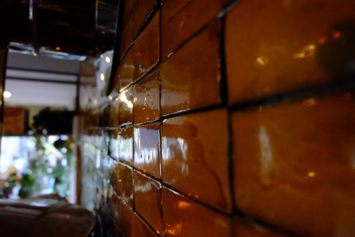 Wall tiles Onibus Coffee Nakameguro Tokyo Japan Cafe