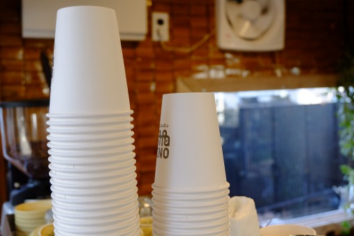 Paper cups at Onibus Coffee Nakameguro Tokyo Japan Cafe
