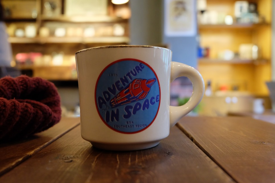Adventure in Space Coffee Mug Woodberry Coffee Roasters Tokyo Japan