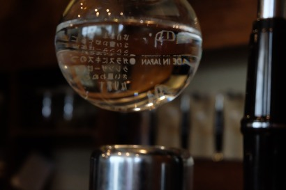 Close up of a Siphon Brewer Cafe Obscura Tokyo Japan Coffee