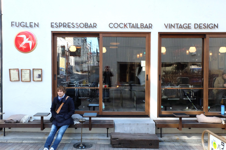 Charlie Luong of ArtisanSmith outside Fuglen Coffee Tokyo