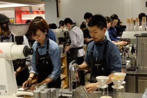 Baristas at Work at Blue Bottle Coffee Shinjuku Tokyo Japan