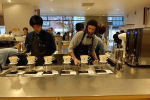 Blue Bottle Coffee Shinjuku Baristas at pour over station Tokyo Japan