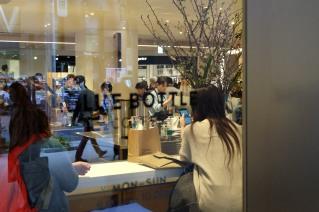Blue Bottle Coffee Shinjuku view inside from outside window