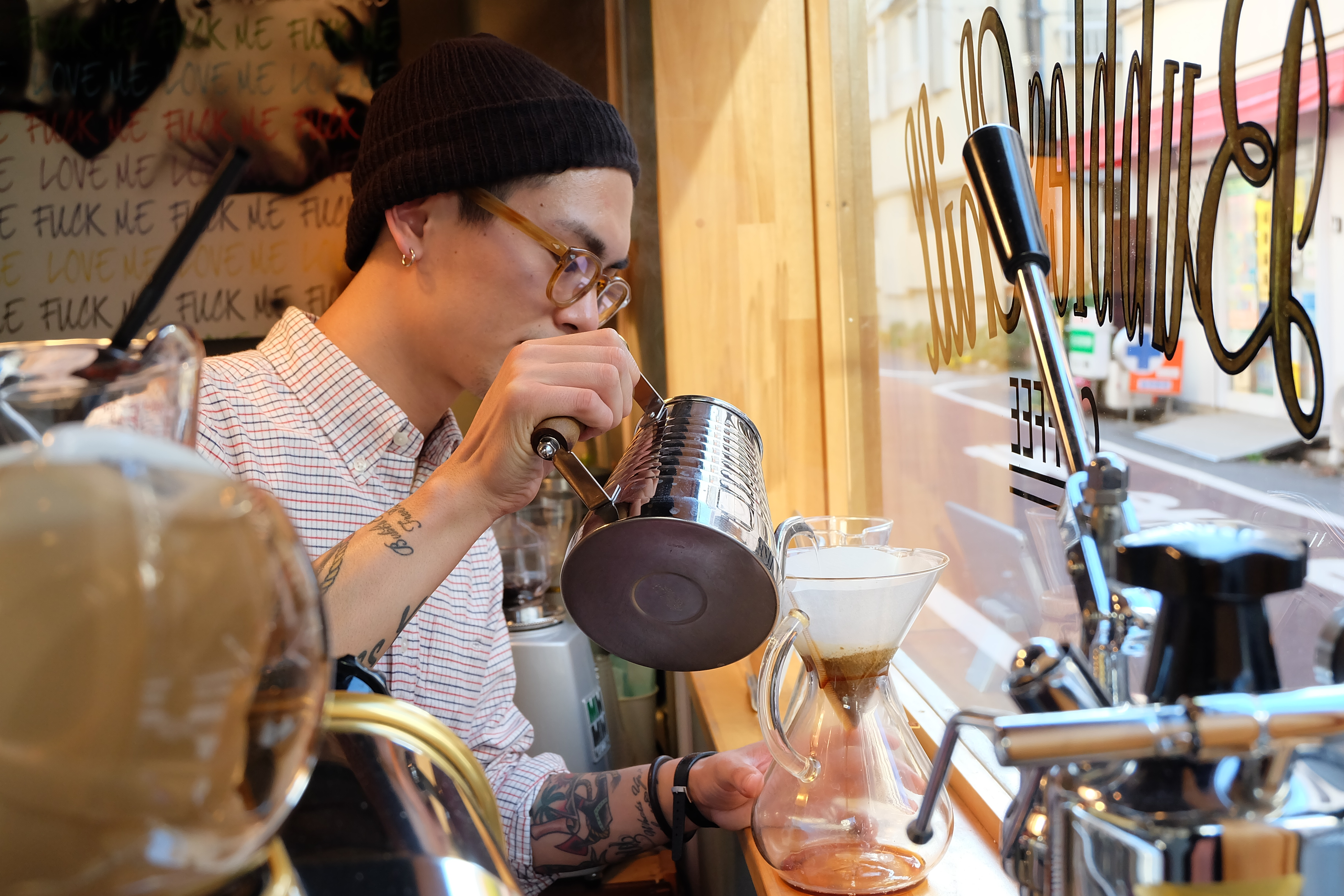 Barista Making a Pour Over at Bubbles Chill Coffee Meguro Tokyo Cafe