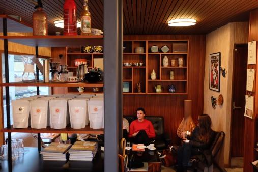 People Sitting Inside Fuglen Coffee Tokyo Shibuya Japan Cafe
