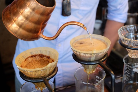 Copper Kettle and Hario V60 Coffee cone at Glitch Coffee and Roasters in Jimbocho Tokyo Japan