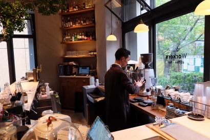 Barista Preparing Espresso at The Workers Coffee and Bar Meguro Tokyo Cafe
