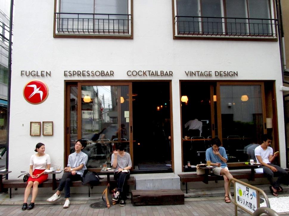 People Sitting Outside Fuglen Coffee Tokyo Shibuya Japan Cafe