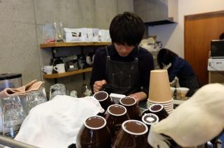 Barista at Amameria Espresso Shinagawa Tokyo Japan Cafe