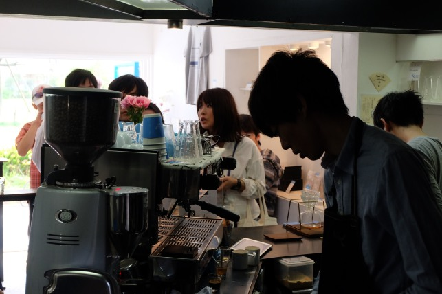 Shadowy Barista at Light Up Coffee Kichijoji Tokyo Japan Cafe