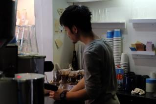 Side Profile of Barista at Light Up Coffee Kichijoji Tokyo Japan Cafe