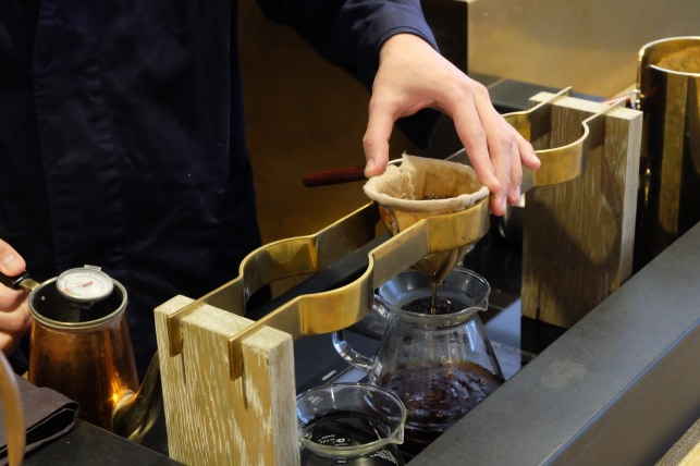 Baristas Hand and Flannel Filter at Cobi Coffee in Aoyama Tokyo Japan