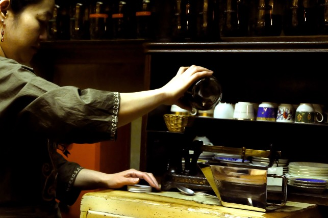 Preparing Coffee at Cafe de Lambre Kissaten Cafe in Ginza Tokyo Japan