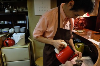 Making Coffee at Cafe de Lambre Kissaten Cafe in Ginza Tokyo Japan