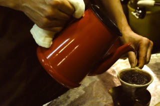 Kettle and Flannel Pour Over at Cafe de Lambre Kissaten Cafe in Ginza Tokyo Japan