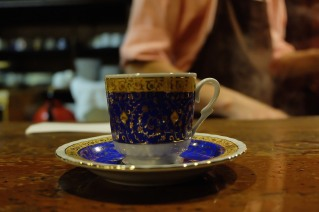 Blue and Gold Coffee Cup and Saucer at Cafe de Lambre Kissaten Cafe in Ginza Tokyo Japan