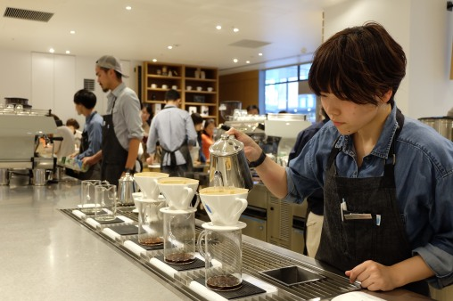Barista Making Coffee at Blue Bottle Coffee Shinjuku Japan Tokyo