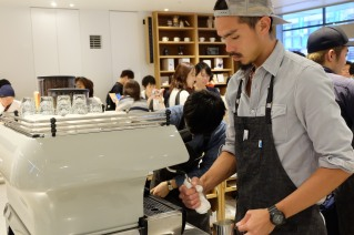 Barista and La Marzocco FB80 Espresso Machine at Blue Bottle Coffee Shinjuku Japan Tokyo