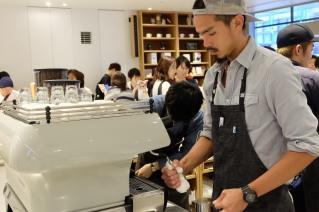 Barista and La Marzocco FB80 Espresso Machine at Blue Bottle Coffee Shinjuku Japan Tokyo