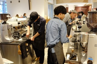 Baristas Preparing Coffee at Blue Bottle Coffee Shinjuku Japan Tokyo
