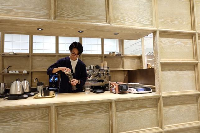Service Window at Cobi Coffee Box Shinjuku Tokyo Japan