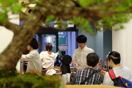 Bonsai Tree and Baristas at Sarutahiko Coffee in Beams Japan Shinjuku Tokyo