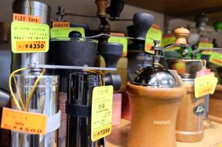 Shelf of Coffee Grinders at Yamamoto Coffee Store in Shinjuku Tokyo Japan